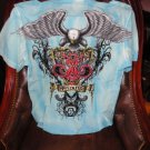 Retrofit Medium size Short Sleeve Shirt Light Blue  with Embroidery Front & Back