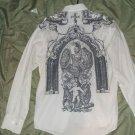 BG mens casual designer dress shirt with graphic medium