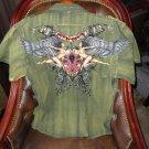 Retrofit XXX-Large  Short Sleeve Shirt Kakhi with Embroidery Front & Back