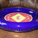 Diamond Crown Ceramic Cigar Ashtray Large size holds 3 cigars with slots no box