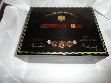 Elie Bleu Medals Black Sycamore Humidor 75 Count new in original box