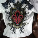 Retrofit Large Short Sleeve Shirt White with Embroidery Front & Back