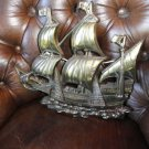 """Brass Wall Plaque of Sailing Ship 15 """" across by 13.25"""" H"""