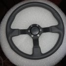 Gussi Boat Steering Wheel M521 Grey Urethane Black Spoke & Polished Alum Hub