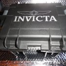 Invicta watch carrying case in black with grey handles holds 3 watches