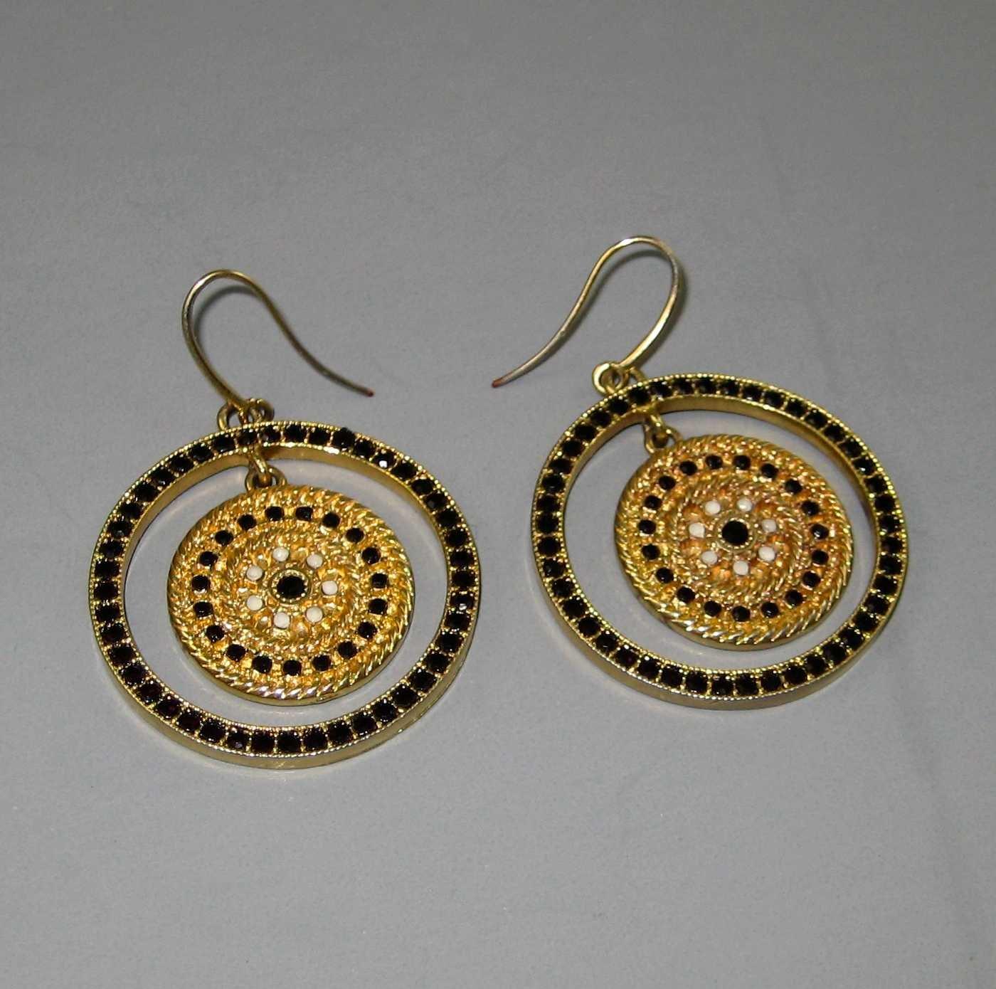 Hoop Earrings Gold Tone with Black Stones