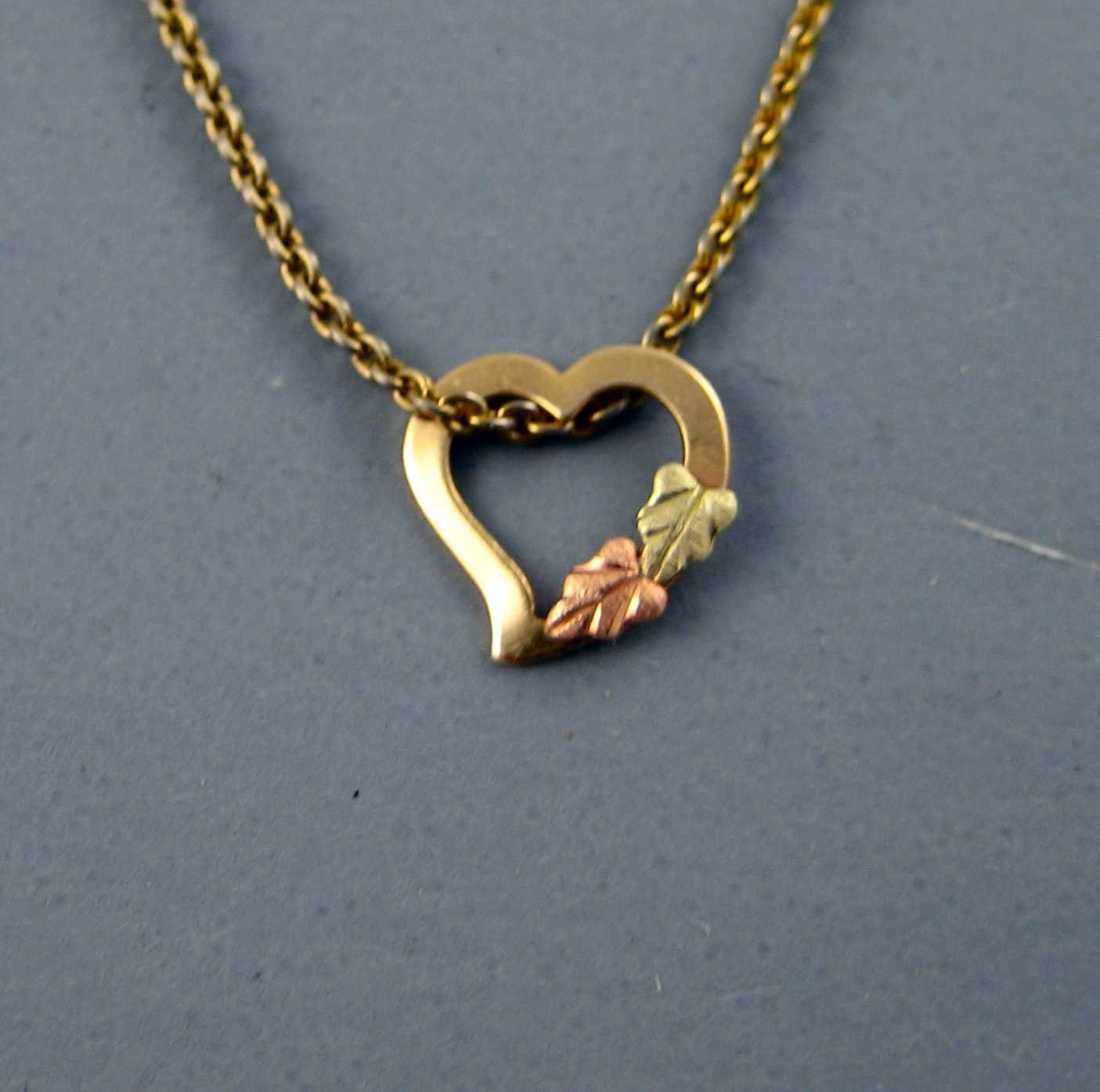 Floating Heart 10K Yellow Gold Heart Pendant with Chain