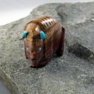 Good Luck Buffalo Fetish Zuni Hand Carved Agate with Turquoise Décor