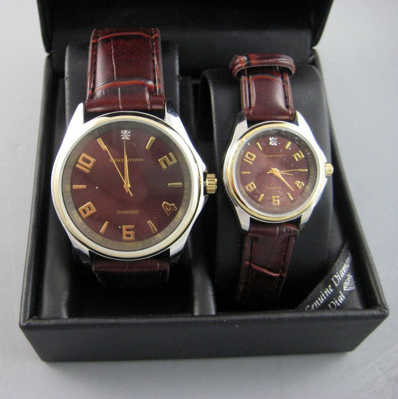 His and Hers Matching Wrist Watches Cerentino Genuine Diamond Dial