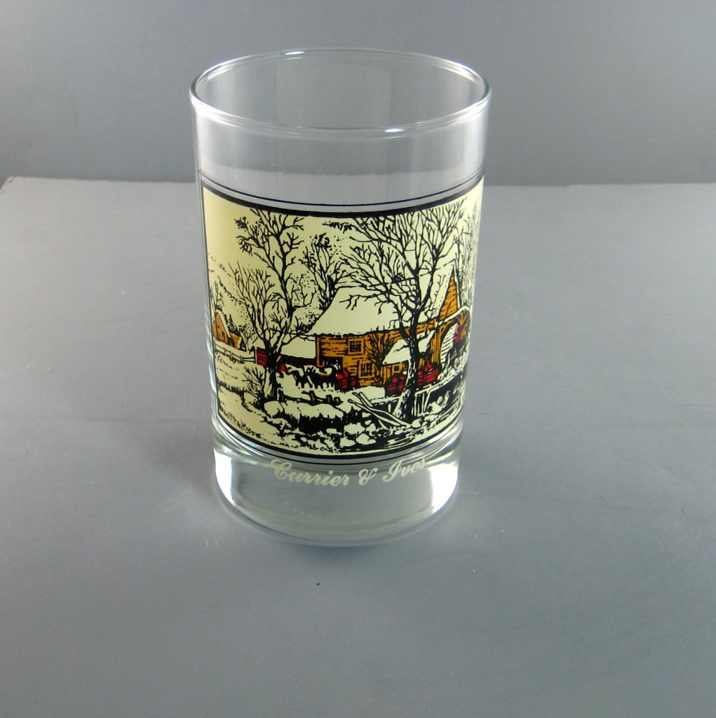 Currier & Ives Glasses Winter Scenes Arbys Christmas Collector Series Frozen Up