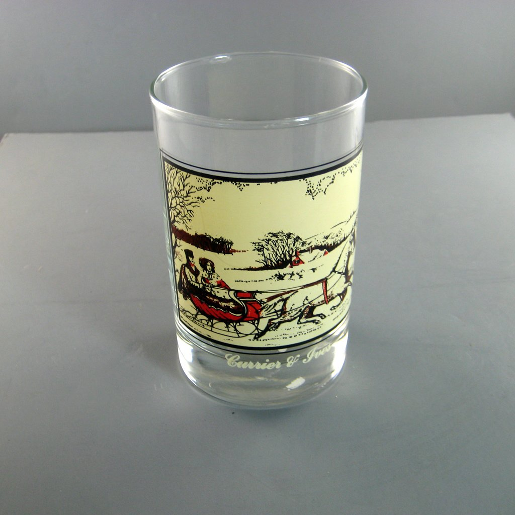 Currier & Ives Glasses Winter Scenes Arbys Christmas Collector Series The Road in Winter