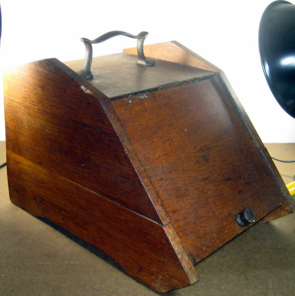 Antique oak wooden coal scuttle, wood box, rubbish bin, bread box, Victorian