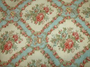 In the Manor -Blue cotton Fabric   1 yd