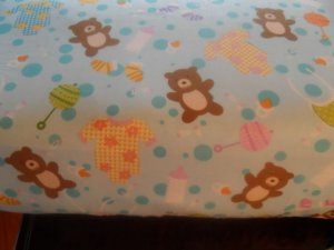 Handmade Blue Teddy Bears  Cotton   Crib/Toddler Fitted Sheet