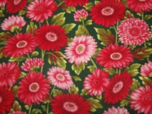 Flower Mart 11 Red Daisies  Cotton Fabric  from Benartex 1/ 2 yd