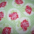 Lulu- Rose Green Cotton Fabric  from Free Spirit 1/ 2 yd