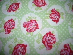 Lulu- Rose Green Cotton Fabric  from Free Spirit 1/ 2 yd