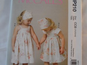 McCall's Girl's  Dress, Top,Shorts,Headcover  Pattern ,MP210 size 1,2,3,4,