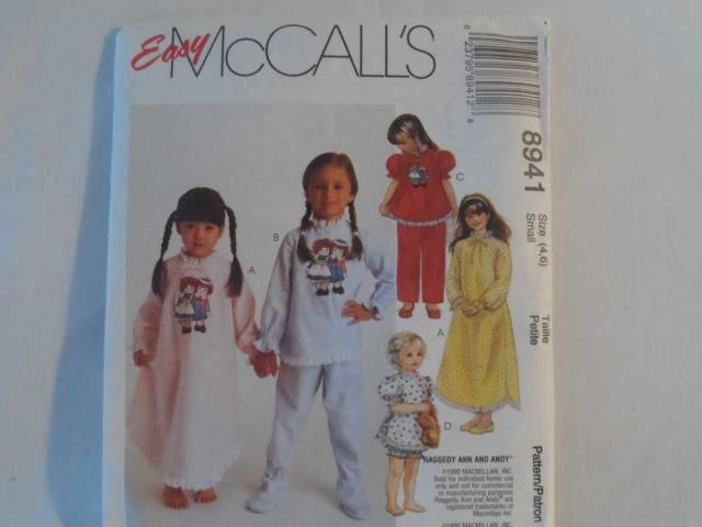 McCall's  Girl's Nightdress and Pajama  Pattern 8941Uncut ,size  10,12
