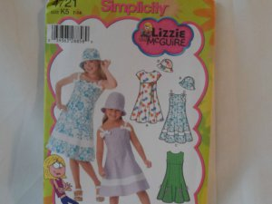 Simplicity Girl's Dress and Hat  Pattern 4721- New ,size  7 - 14
