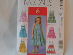 McCall's  Girl's Dress Pattern 4817- New ,size  2,3,4,5