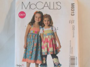 McCall's  Girl's Dress,top and Pants Pattern 6313- New ,size  2, 3,4,5,
