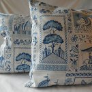 Handmade Decorative Blue and White Pillow Cover,Throw Covers, 18 x18 and 16 x 16