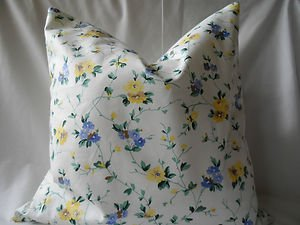 Handmade Decorative Laura Ashley Yellow Floral Fabric, Pillow Cover, 18 x18