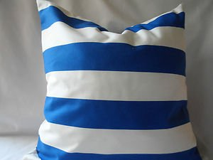 Handmade Decorative Blue and White Stripe Pillow Cover,Throw Covers, 20 x20