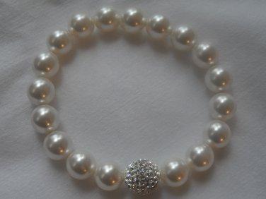 White Swarovski Pearls and Crystal Element Stretch Bracelet