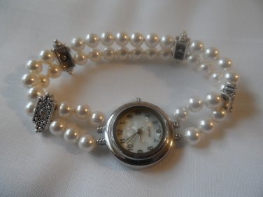 White Swarovski Pearls and Element Stretch Bracelet Quartz Watch