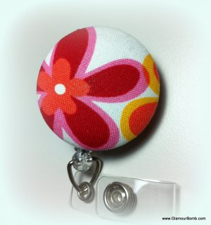 Hawaiian Floral Print Identification Badge Reel
