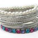 FASHION JEWELRY TRENDY CRYSTAL PEARL METAL MULTI ROW STACKABLE BRACELET