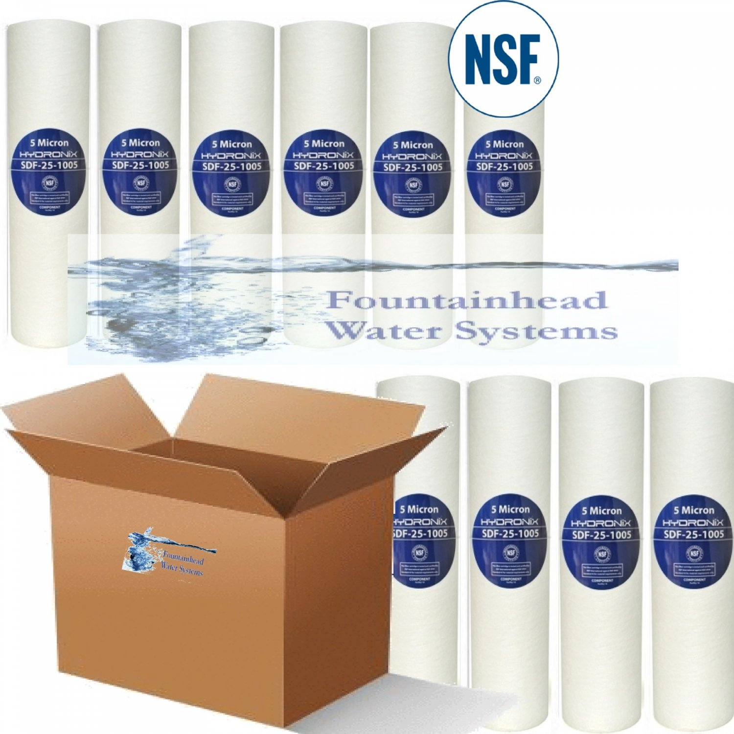 "10 NSF SEDIMENT FILTERS 10"" REMOVES SEDIMENT/RUST/SILT 5 MICRONS"