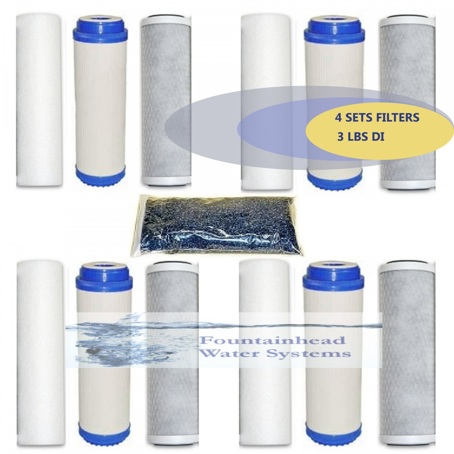 RO/DI MEDIA. 5 MICRON 4 SETS FILTERS. 3 LBS COLOR CHANGING DI. AQUARIUM/REEF