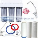 TRIPLE UNDER SINK CLEAR HOUSING FILTER SED/FLUORIDE/ARSENIC/CARBON BLOCK FAUCET
