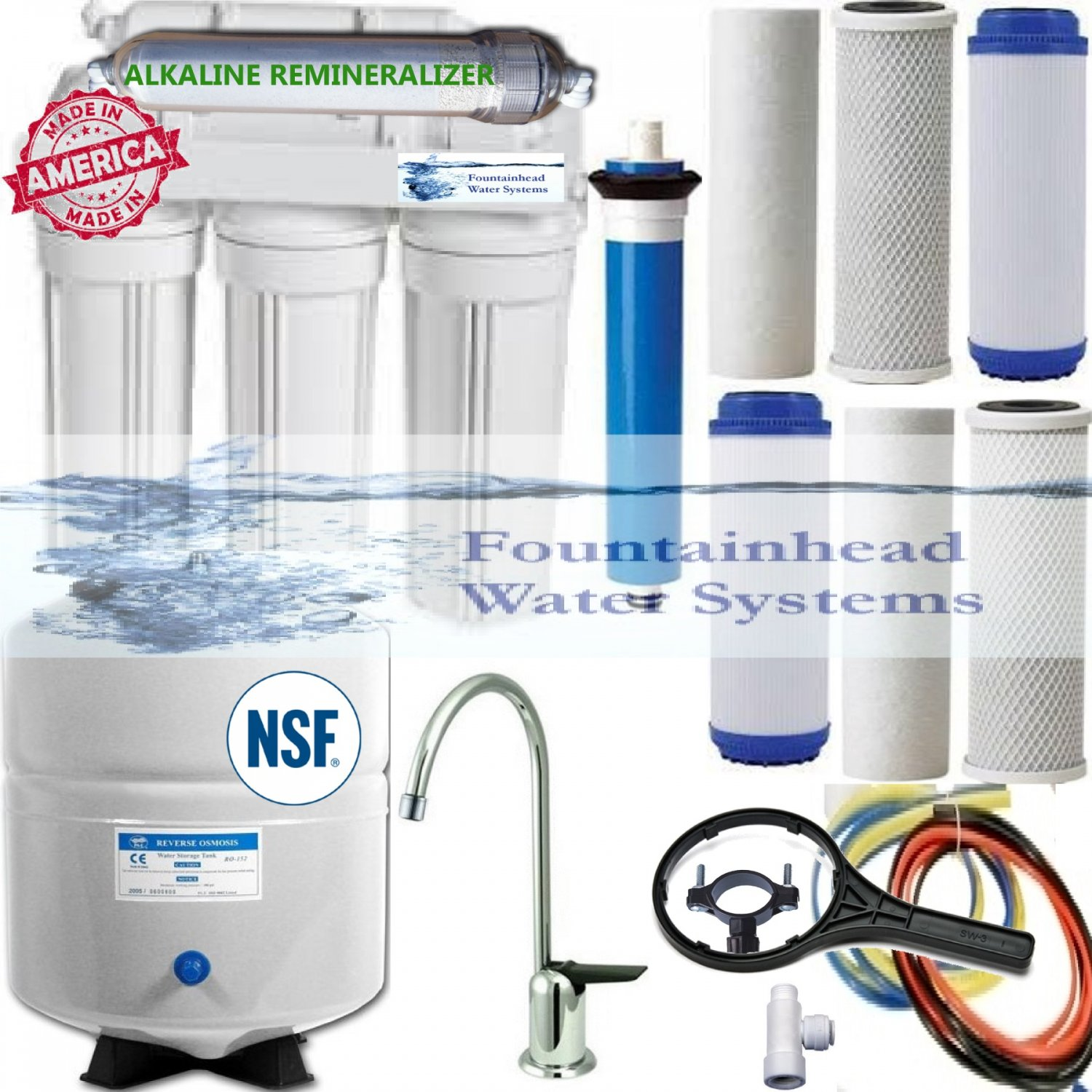 ALKALINE WATER FILTER SYSTEM REVERSE OSMOSIS 100G EXTRA FILTERS CHOICE OF FAUCET