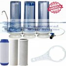 3 STAGE COUNTER TOP FILTER SYSTEM SEDIMENT/GAC/CARBON BLOCK. FAUCET ADAPTER