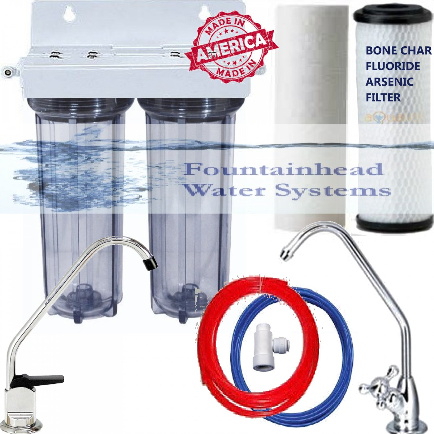 DUAL UNDER SINK FLUORIDE/ARSENIC/CHLORINE/VOC'S FILTER CLEAR CHOICE OF FAUCETS