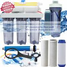 RO/DI Aquarium Reverse Osmosis 5 Stage System 100 GPD Single DI Clear Housings.