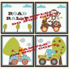 ROAD RALLY Wood WALL PLAQUES Nursery Decor...Set of 3...8x8