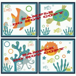 BUBBLES and SQUIRT Sea Life Wood WALL PLAQUES Nursery Decor...Set of 4...8x8