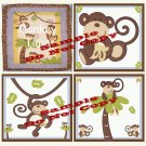 MONKEY TIME Wood WALL PLAQUES Nursery Decor...Set of 3...8x8