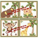 JUNGLE BABIES Wood WALL PLAQUES Nursery Decor...Set of 4...8x8