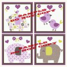 ELEPHANT PATCHES Wood WALL PLAQUES Nursery Decor...Set of 4...8x8