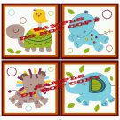 ANIMAL PARADE Wood WALL PLAQUES Nursery Decor...Set of 4...8x8
