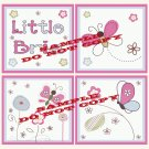Little BRIA Butterfly Flowers Wood WALL PLAQUES Nursery Decor...Set of 3...8x8