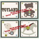 TOYLAND Wood WALL PLAQUES Nursery Decor...Set of 3...8x8
