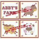 ABBY'S FARM Wood WALL PLAQUES Nursery Decor...Set of 3...8x8