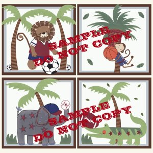 TEAM SAFARI Wood WALL PLAQUES Nursery Decor...Set of 4...8x8